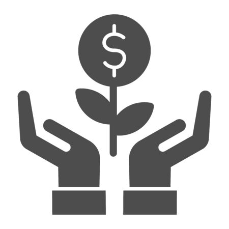 Grows plant in care hands solid icon. Money holding flower symbol, glyph style pictogram on white background. Dollar sign for mobile concept and web design. Vector graphics.