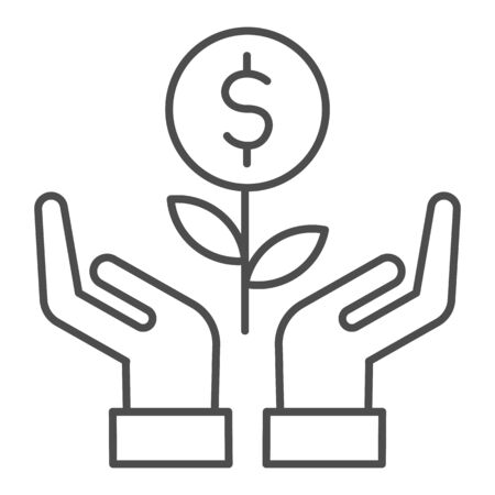 Grows plant in care hands thin line icon. Money holding flower symbol, outline style pictogram on white background. Dollar sign for mobile concept and web design. Vector graphics.
