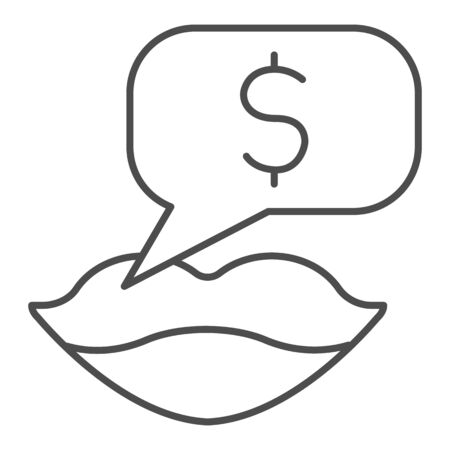 Female lips with dollar thin line icon. Woman mouth and dialog symbol, outline style pictogram on white background. Money sign for mobile concept and web design. Vector graphics.
