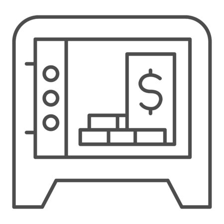 Opened box storage thin line icon. Safe with bundles of savings, dollar in bank symbol, outline style pictogram on white background. Money sign for mobile concept and web design. Vector graphics.