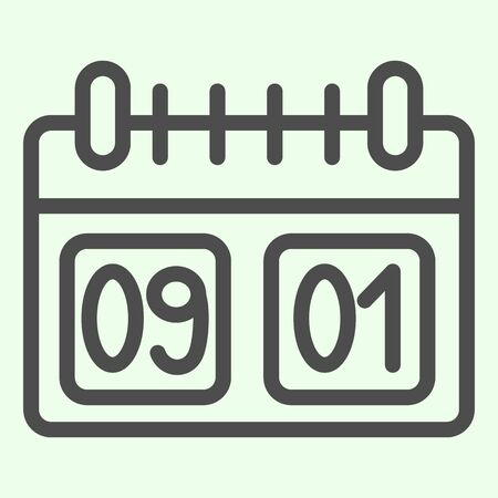 School calendar line icon. Calendar with first of September date outline style pictogram on white background. Day of knowledge dating symbol for mobile concept and web design. Vector graphics.