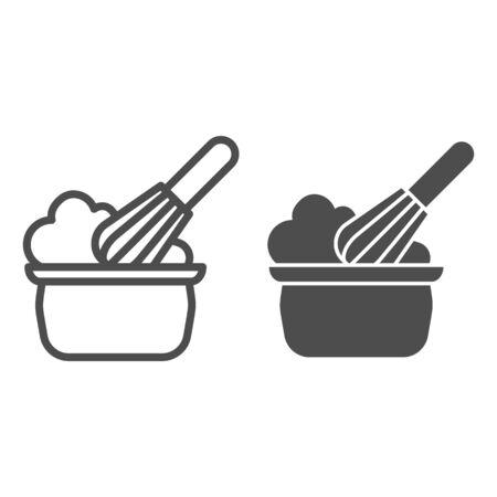 Ligne d'agitation manuelle et icône solide. Processus de crème à fouetter, symbole de fouet et de bol, pictogramme de style de contour sur fond blanc. Signe de boulangerie pour le concept mobile et la conception Web. Graphiques vectoriels