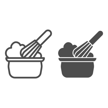 Manual stirring line and solid icon. Whipping cream proces, whisk and bowl symbol, outline style pictogram on white background. Bakery sign for mobile concept and web design. Vector graphics