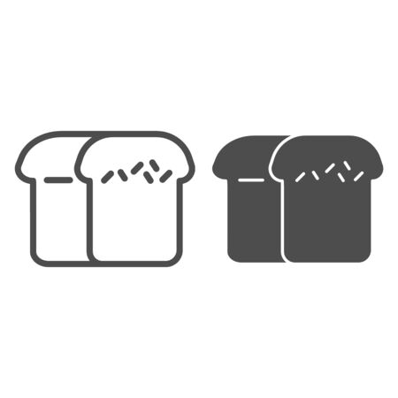 Brick bread line and solid icon. Brown loaf symbol, outline style pictogram on white background. Bakery shop sign for mobile concept and web design. Vector graphics