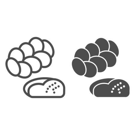 Challah line and solid icon. Jewish pastry, bread loaf symbol, outline style pictogram on white background. Bakery shop sign for mobile concept and web design. Vector graphics