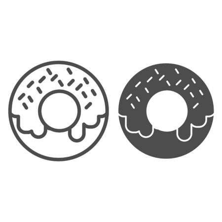 Donut line and solid icon. Doughnut, small sweet fried cake with cream symbol, outline style pictogram on white background. Bakery shop sign for mobile concept and web design. Vector graphics