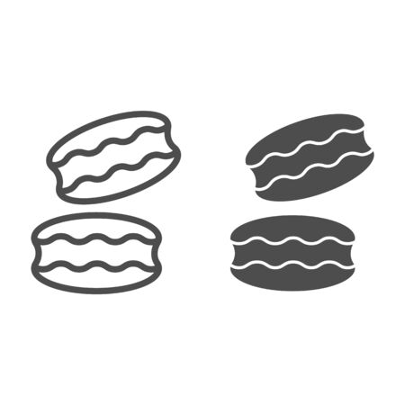 Biscuit line and solid icon. Coconut or ground almonds cookie, macarons symbol, outline style pictogram on white background. Bakery shop sign for mobile concept and web design. Vector graphics