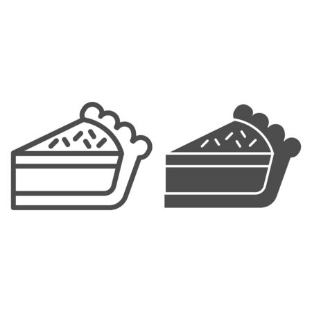 Pie slice line and solid icon. Cake dessert piece, cheesecake symbol, outline style pictogram on white background. Bakery sign for mobile concept and web design. Vector graphics