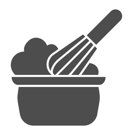 Manual stirring solid icon. Whipping cream proces, whisk and bowl symbol, glyph style pictogram on white background. Bakery sign for mobile concept and web design. Vector graphics. Illustration