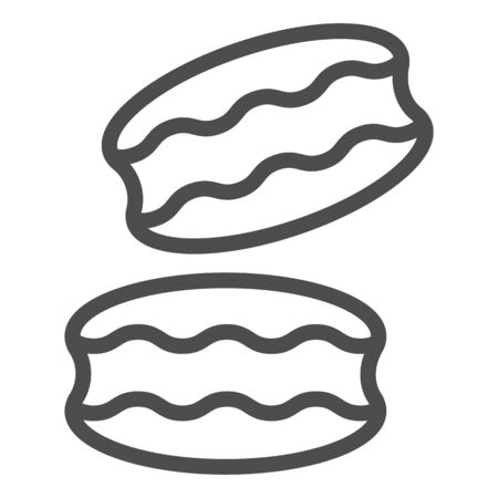 Biscuit line icon. Coconut or ground almonds cookie, macarons symbol, outline style pictogram on white background. Bakery shop sign for mobile concept and web design. Vector graphics.