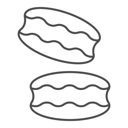 Biscuit thin line icon. Coconut or ground almonds cookie, macarons symbol, outline style pictogram on white background. Bakery shop sign for mobile concept and web design. Vector graphics.