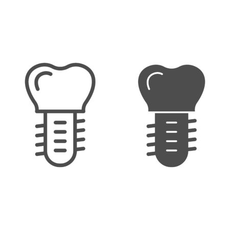 Dental replacement implant line and solid icon. Screw in tooth symbol, outline style pictogram on white background. Dentistry sign for mobile concept and web design. Vector graphics. 矢量图像