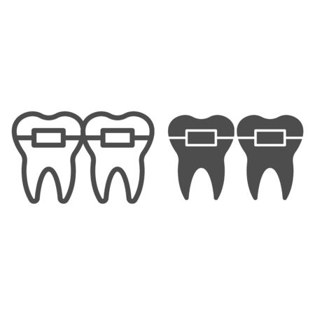 Teeth alignment line and solid icon. Mouth braces, orthodontic treatment symbol, outline style pictogram on white background. Dentistry sign for mobile concept and web design. Vector graphics.