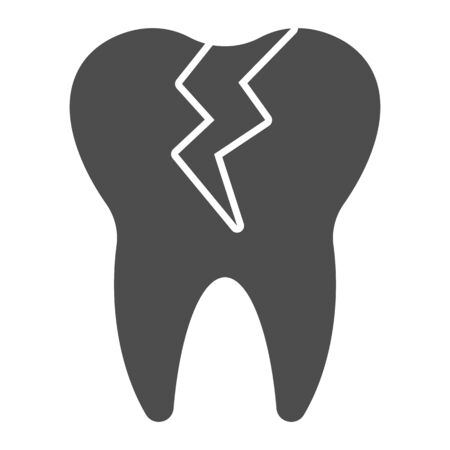 Cracked tooth solid icon. Caries infection impacted, dental problem symbol, glyph style pictogram on white background. Dentistry sign for mobile concept or web design. Vector graphics.