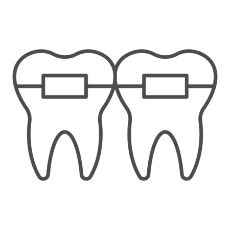 Teeth alignment thin line icon. Mouth braces, orthodontic treatment symbol, outline style pictogram on white background. Dentistry sign for mobile concept and web design. Vector graphics. Ilustração