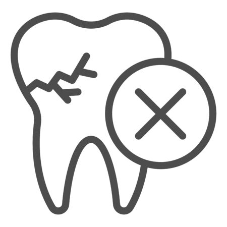 Tooth with crack line icon. Impacted caries problem, needed to remove symbol, outline style pictogram on white background. Dentistry sign for mobile concept or web design. Vector graphics. 向量圖像
