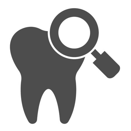 Checking teeth solid icon. Diagnostics or examation, tooth and magnifier symbol, glyph style pictogram on white background. Dentistry sign for mobile concept or web design. Vector graphics