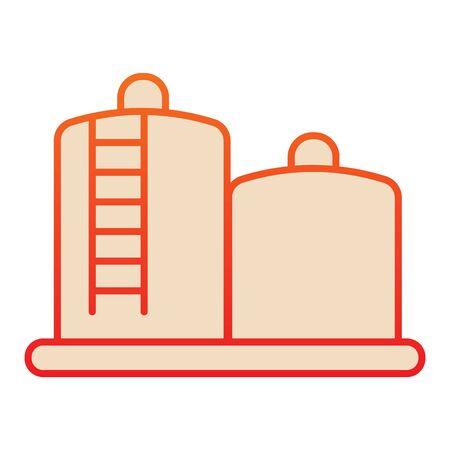 Fuel storage flat icon. Tank farm with liquid. Oil industry vector design concept, gradient style pictogram on white background.