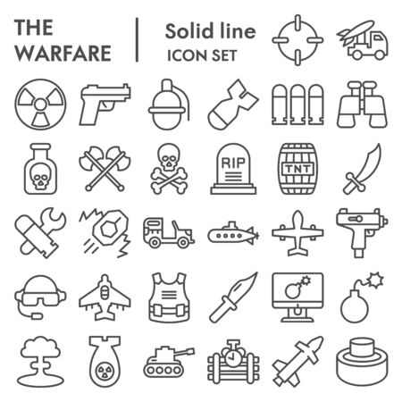 Warfare line icon set. Military signs collection, sketches, logo illustrations, web symbols, outline style pictograms package isolated on white background. Vector graphics.