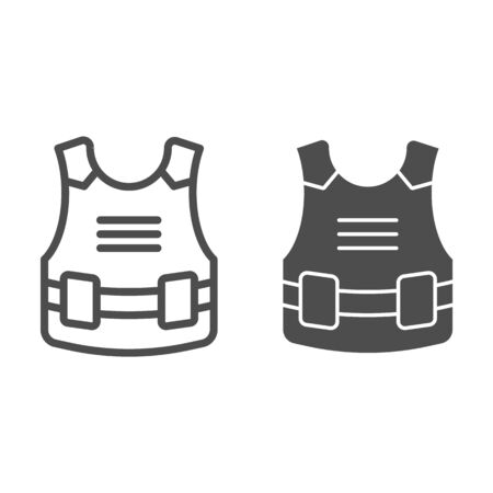 Body armor line and solid icon. Bulletproof, army jacket protection from bullets symbol, outline style pictogram on white background. Military sign for mobile concept or web design. Vector graphics.
