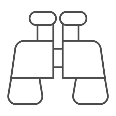Binoculars thin line icon. Find or search equipment, optical binocular symbol, outline style pictogram on white background. Military item sign for mobile concept and web design. Vector graphics.