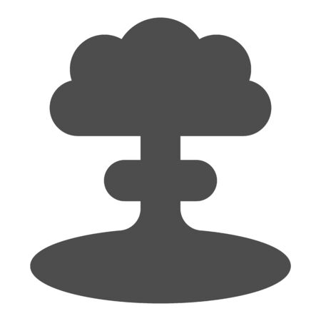 Nuclear explosion solid icon. Atomic bomb bang, mushroom shape toxic cloud symbol, glyph style pictogram on white background. Warfare sign for mobile concept or web design. Vector graphics.