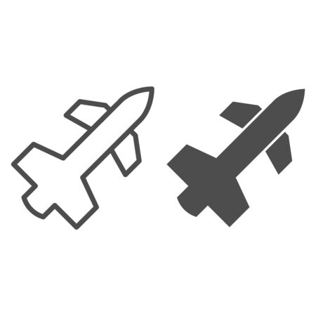 Tomahawk air missile line and solid icon. Airspace protection, rocket weapon symbol, outline style pictogram on white background. Military sign for mobile concept and web design. Vector graphics.