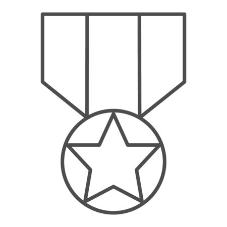 Medal thin line icon. Army reward, soldier star of honor symbol, outline style pictogram on white background. Military sign for mobile concept and web design. Vector graphics.