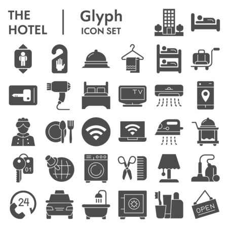 Hotel solid icon set. Household signs collection, sketches, illustrations, web symbols, glyph style pictograms package isolated on white background. Vector graphics.