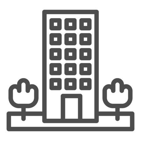 Motel line icon. Skyscrape building with trees symbol, outline style pictogram on white background. Hotel business sign for mobile concept and web design. Vector graphics.