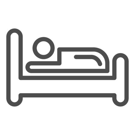 Bed line icon. Place for sleep, furniture object symbol, outline style pictogram on white background. Hotel business sign for mobile concept and web design. Vector graphics. Ilustração