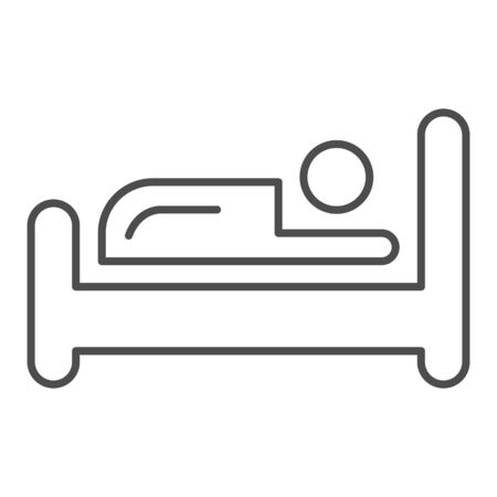 Bed thin line icon. Place for sleep, furniture object symbol, outline style pictogram on white background. Hotel business sign for mobile concept and web design. Vector graphics.