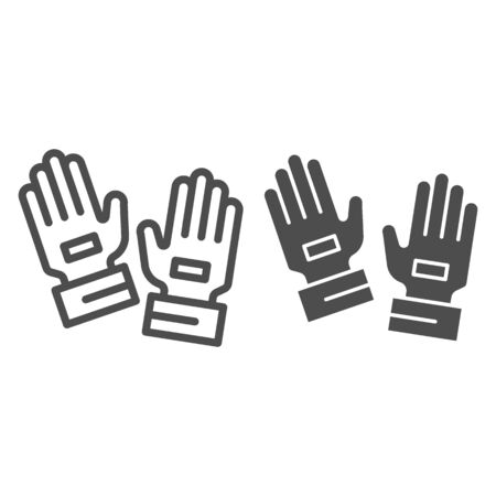 Goalkeeper gloves line and solid icon. Goal keeper gauntlets, soccer protection symbol, outline style pictogram on white background. Football sign for mobile concept and web design. Vector graphics. Stock Illustratie