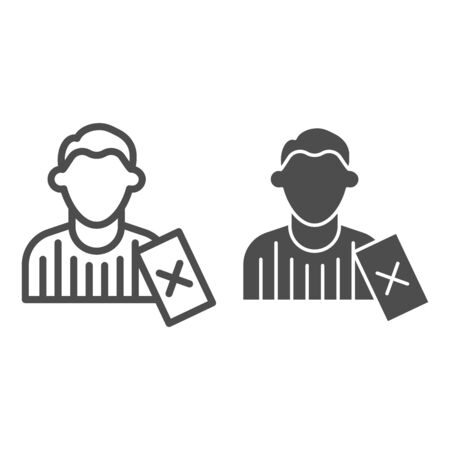 Judge and penalty proof line and solid icon. Soccer or football referee with red card symbol, outline style pictogram on white background. Sport sign for mobile concept or web design. Vector graphics.