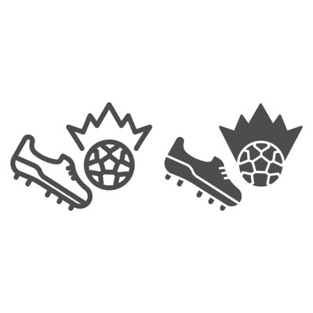 Shoe kick the ball line and solid icon. Kicking off soccer-ball symbol, outline style pictogram on white background. Sport sign for mobile concept and web design. Vector graphics.