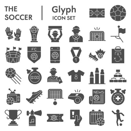 Soccer solid icon set. Football sport signs collection, sketches, logo illustrations, web symbols, glyph style pictograms package isolated on white background. Vector graphics.