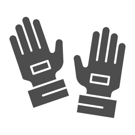 Goalkeeper gloves solid icon. Goal keeper gauntlets, soccer protection symbol, glyph style pictogram on white background. Football sign for mobile concept and web design. Vector graphics. Stock Illustratie