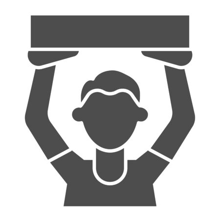 Soccer fan solid icon. Football fans, cheering man with poster symbol, glyph style pictogram on white background. Sport sign for mobile concept and web design. Vector graphics.