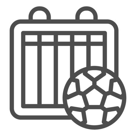 Match results line icon. Soccer or football tournament table sheet and ball symbol, outline style pictogram on white background. Sport sign for mobile concept or web design. Vector graphics. Vector Illustration