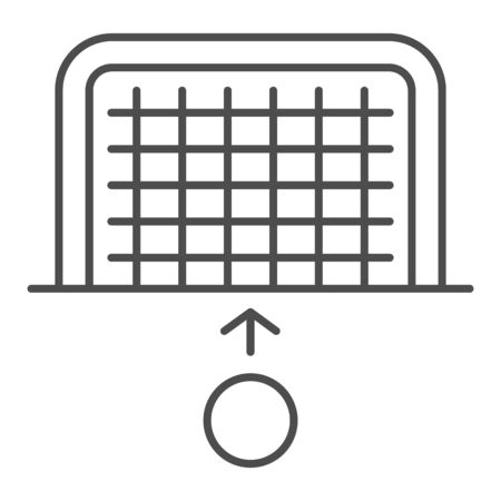 Goal and ball thin line icon. Soccer gate with soccer-ball, penalty or attack symbol, outline style pictogram on white background. Sport sign for mobile concept and web design. Vector graphics. Ilustração