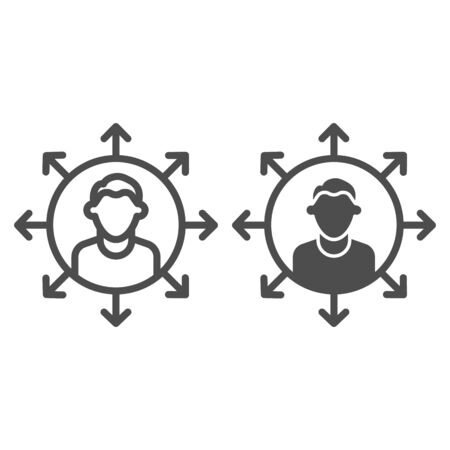 Worker multitasking line and solid icon. Finance efficient person with many arrows symbol, outline style pictogram on white background. Business sign for mobile concept or web design. Vector graphics.