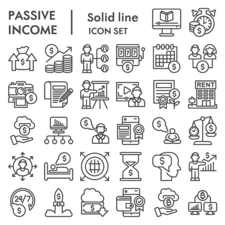 Passive income business line icon set. Financial investment signs collection, sketches, logo illustrations, web symbols, outline style pictograms package isolated on white background. Vector graphics. Illustration