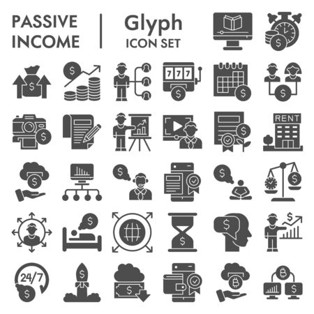 Passive income business solid icon set. Financial investment signs collection, sketches, logo illustrations, web symbols, glyph style pictograms package isolated on white background. Vector graphics.