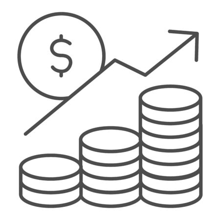Money profit analytics thin line icon. Growth chart arrow, coins and dollar symbol, outline style pictogram on white background. Business sign for mobile concept and web design. Vector graphics. Illustration