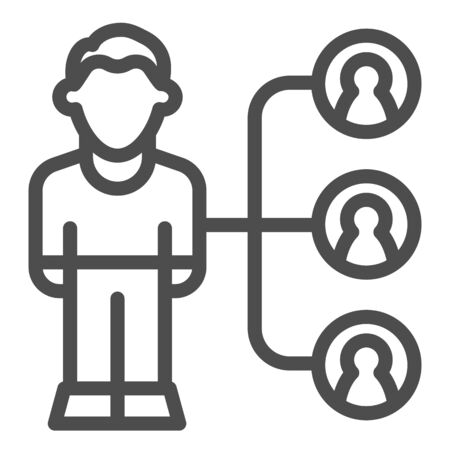 Affiliate marketing line icon. Person with targets, audience research symbol, outline style pictogram on white background. Business sign for mobile concept and web design. Vector graphics.