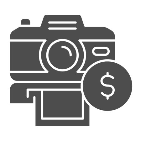 Selling photos on stock solid icon. Photocamera and dollar coin symbol, glyph style pictogram on white background. Passive income sign for mobile concept and web design. Vector graphics. Illustration