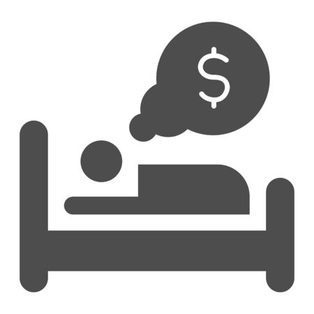 Dream about money solid icon. Man sleeping in bed, bulb with dollar symbol, glyph style pictogram on white background. Passive income sign for mobile concept or web design. Vector graphics.
