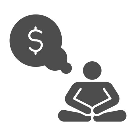 Wealth meditation solid icon. Man sit in pose and meditate with dollar bulb symbol, glyph style pictogram on white background. Money sign for mobile concept and web design. Vector graphics.