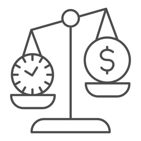 Clock and dollar coin on scales thin line icon. Scale balance money and time symbol, outline style pictogram on white background. Business sign for mobile concept and web design. Vector graphics.