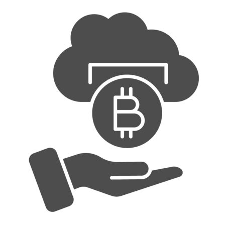 Bitcoin withdrawal solid icon. Cryptocurrency coin cloud with helping hand symbol, glyph style pictogram on white background. Money sign for mobile concept and web design. Vector graphics.